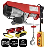 Partsam 2200 lbs Lift Electric Hoist Crane Remote Control Power System, Zinc-Plated Steel Wire Overhead Crane Garage Ceiling Pulley Winch w/Premium Straps (UL/CUL Approval, w/Emergency Stop Switch) (Tamaño: 2200 lbs w/ 2 Slings)