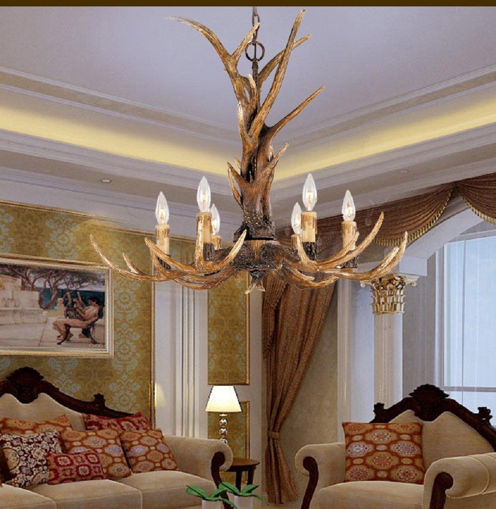 EFFORTINC Vintage Style Resin Antler Chandelier 6 Lights,Living room,Bar,Cafe, Dining room, Bedroom,Study,Villas,American Retro Deer Horn Pendant Lights 6