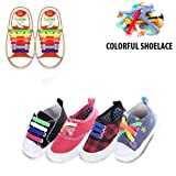 LattoGe No Tie Silicone Shoelaces Tieless Elastic Lace Lock Bands for Kids, Adults Athletic Running Shoe Laces,Seakers (Kids Size Colorful) …