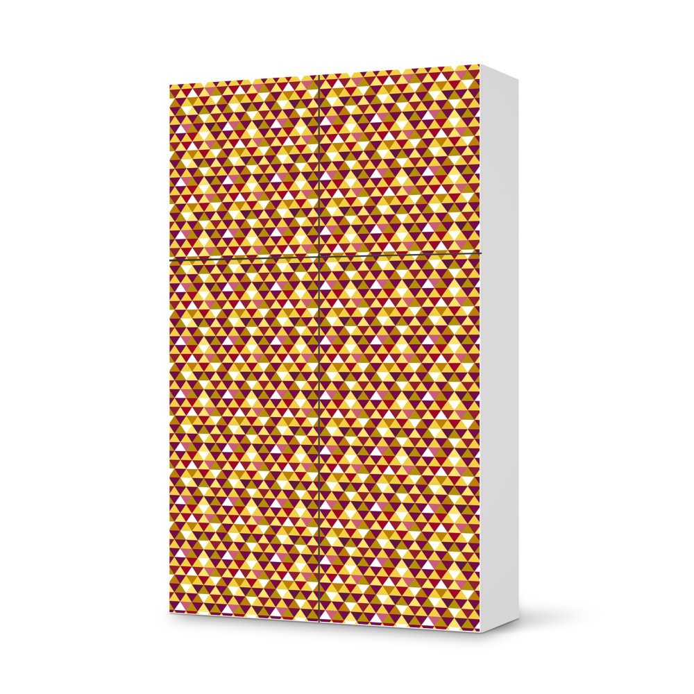 Folie IKEA Besta Schrank Hochkant 4 Türen (2+2) / Design Aufkleber Retro Triangles / Dekorationselement online kaufen