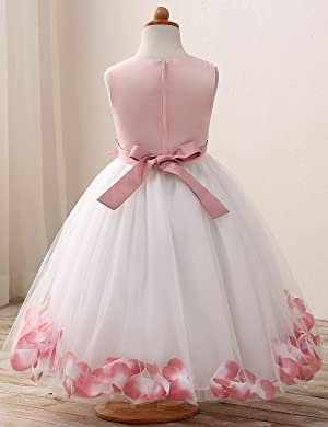73c1d9572e5 NNJXD Girl Tutu Flower Petals Bow Bridal Dress for Toddler Girl Size 3-4  Years Big ...