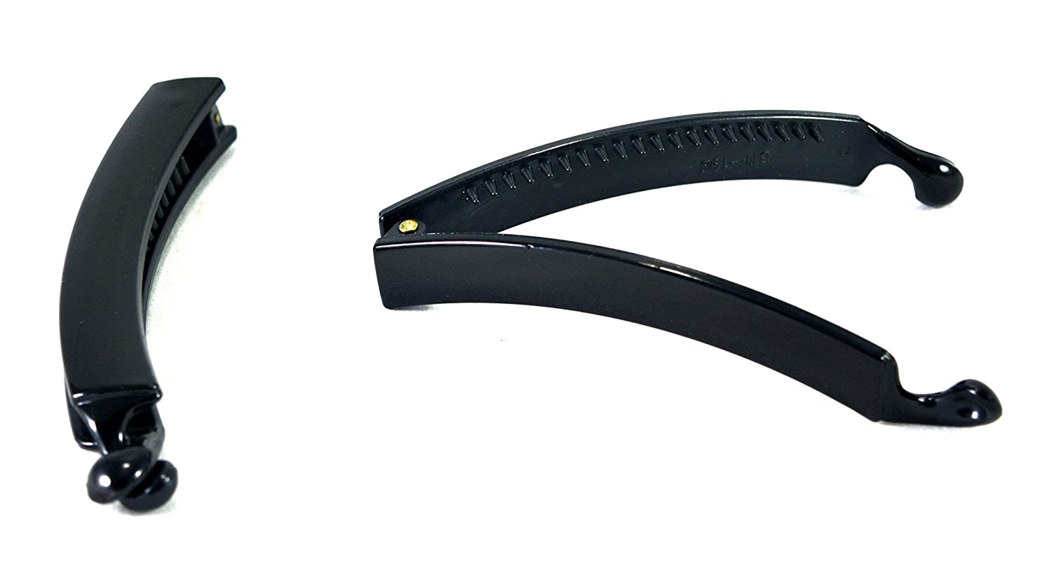 Solid Black Plastic Banana Clip for Woman (Combo of 2 Clips)