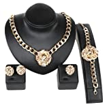 Gold/Silver Plated Lion Head Chain Statement Necklace Bracelet Earring Ring Jewelry Set (Gold)