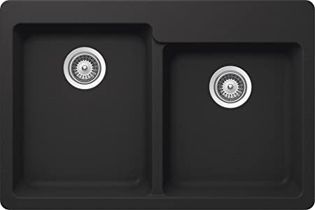 SCHOCK ALIN175T010 ALIVE Series CRISTALITE 60/40 Topmount Double Bowl Kitchen Sink, Onyx