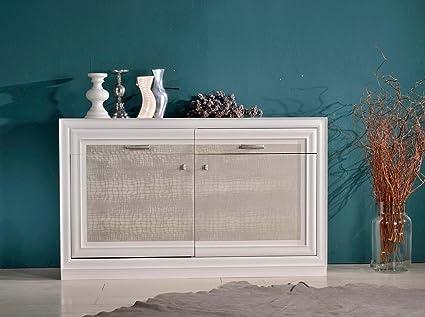 Credenza in legno, laccato bianco e craquele' - cm 150x90
