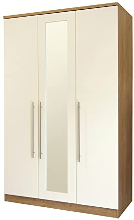 Keswick 3 Door Robe With Mirror - Cream & Oak