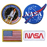 WZT 4 Pcs Tactical Flag Patch - Combination USA NASA Patch Embroidered Morale Lot Military Embroidered Patches (Color: hook and loop fasteners)