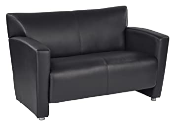 OSP Furniture Black Faux Leather Loveseat with Silver Finish Legs