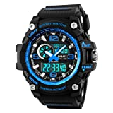 Mens Analog Digital Watch 50M Waterproof Outdoor Sport Watches Military Multifunction Casual Dual Display 12H/24H Stopwatch Calendar Wrist Watch - Blu