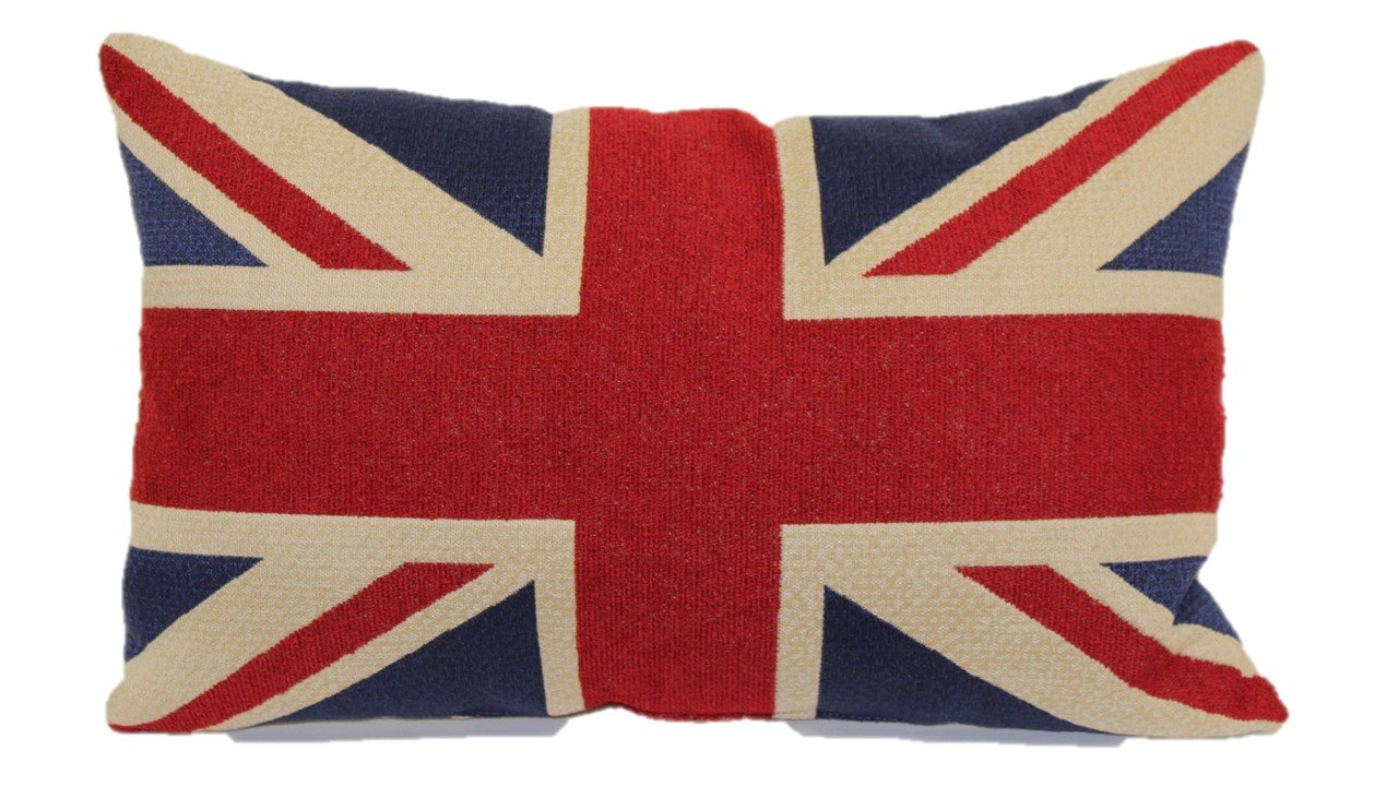 Union Jack Tapestry Toss Pillow, 13-Inch