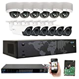 GW Security AutoFocus Dome Camera System, 16 Channel H.265 4K NVR, 12 x 5MP HD 1920P Dome and Bullet POE Security Camera 4X Optical Motorized Zoom Outdoor Indoor (White)