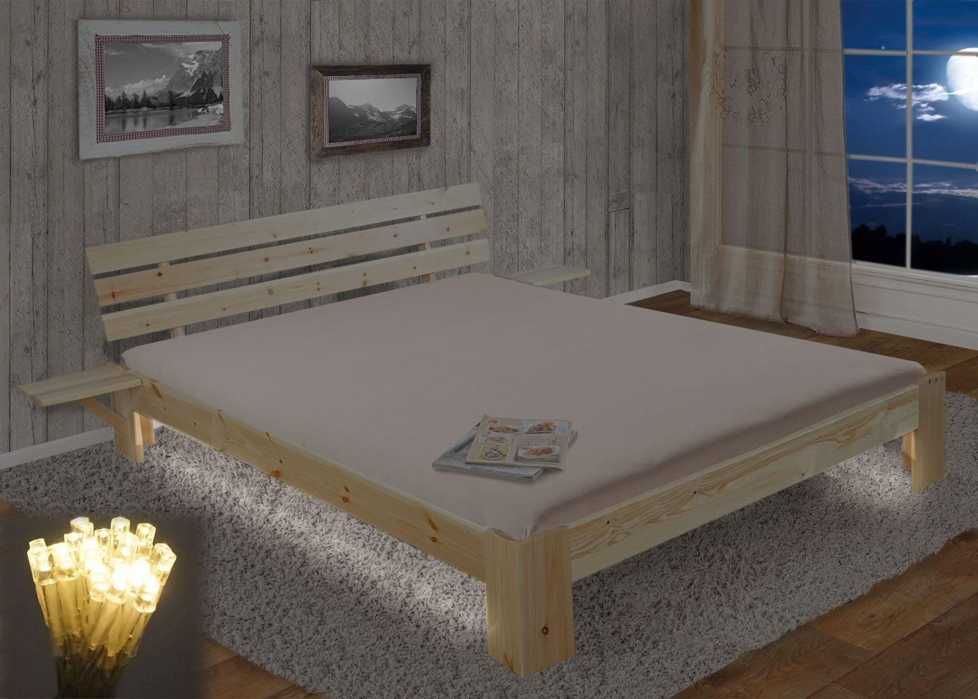 Bett Perth, Doppelbett, Massivholz incl. Lattenrost Ablage Kiefer ~ 180x200cm, natur lackiert, LED