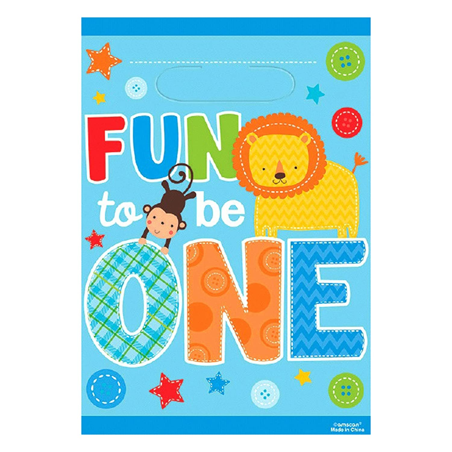 First Birthday Boy Party Loot Bag Single: Wild Fun To Be One Boys Birthday Party Supplies