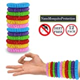 Mosquito Repellent Bracelets 12 Pack, Premium Quality, DEET-Free Natural Wristbands, Waterproof Bug, Protection Insects up to 200 Hours, Pest Control for Babies Kids Adults (Color: White-1)