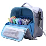 Togood Storage Tote Bag for Marker Pens Brush Pen Coloring Pencils Books Art and Crafts Supplies Tools Cosmetics, Up to 130 Pens (Grey) (Color: Grey)
