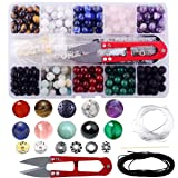 Stone Beads Box Set Kits 240pcs 8mm Round Loose Gemstone Natural Amethyst Lava Stone Amazonlite Assorted Color with Accessories Tools for Bracelet Jewelry Making (Stone Beads Kits) (Color: Stone Beads Kits, Tamaño: 8mm)