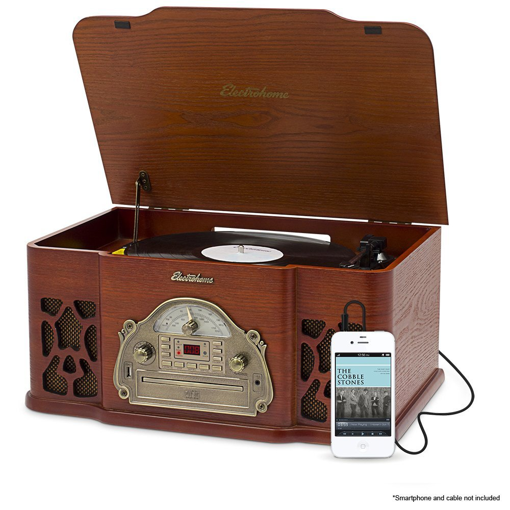 Electrohome EANOS502 Wellington Wood Retro Vinyl Turntable Record Player with Headphone Jack and Aux Input
