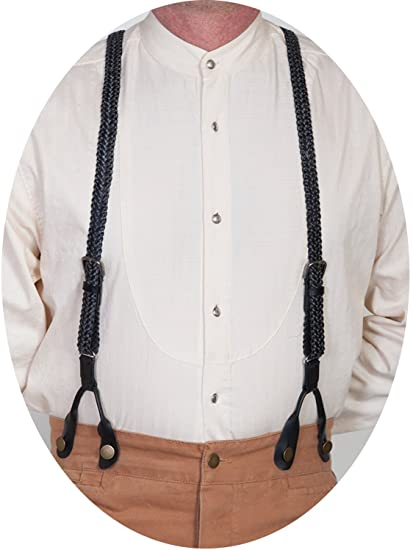Victorian Men's Accessories – Suspenders, Gloves, Cane, Pocket Watch, Spats Braided Suspenders $45.54 AT vintagedancer.com