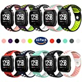 Hagibis Compatible with Fitbit Versa Bands Sport Silicone Replacement Breathable Strap Bands for New Fitbit Versa Smart Fitness Watch (Z-10) (Color: W-10 Pack, Tamaño: 10 Pack)