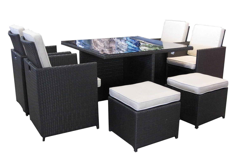 Gartensitzgruppe von MACO Gartenmöbel Set mit 8 Sitzplätzen Abdeckhaube PVC-Rattan mocca jetzt kaufen