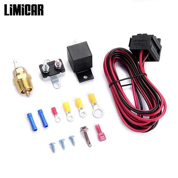 185 Degree On 175 Off Engine Fan Thermostat Temperature Switch 40 amp Relay Kit