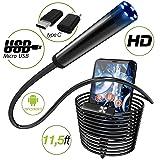 Endoscope - Borescope - Endoscope Android - USB Endoscope Borescope - Micro USB - USB C Inspection Camera - Waterproof LED Automotive Vehicle Bore Drain Digital HD Semi-Rigid OTG Android with Case (Color: Black\gray, Tamaño: Regular)