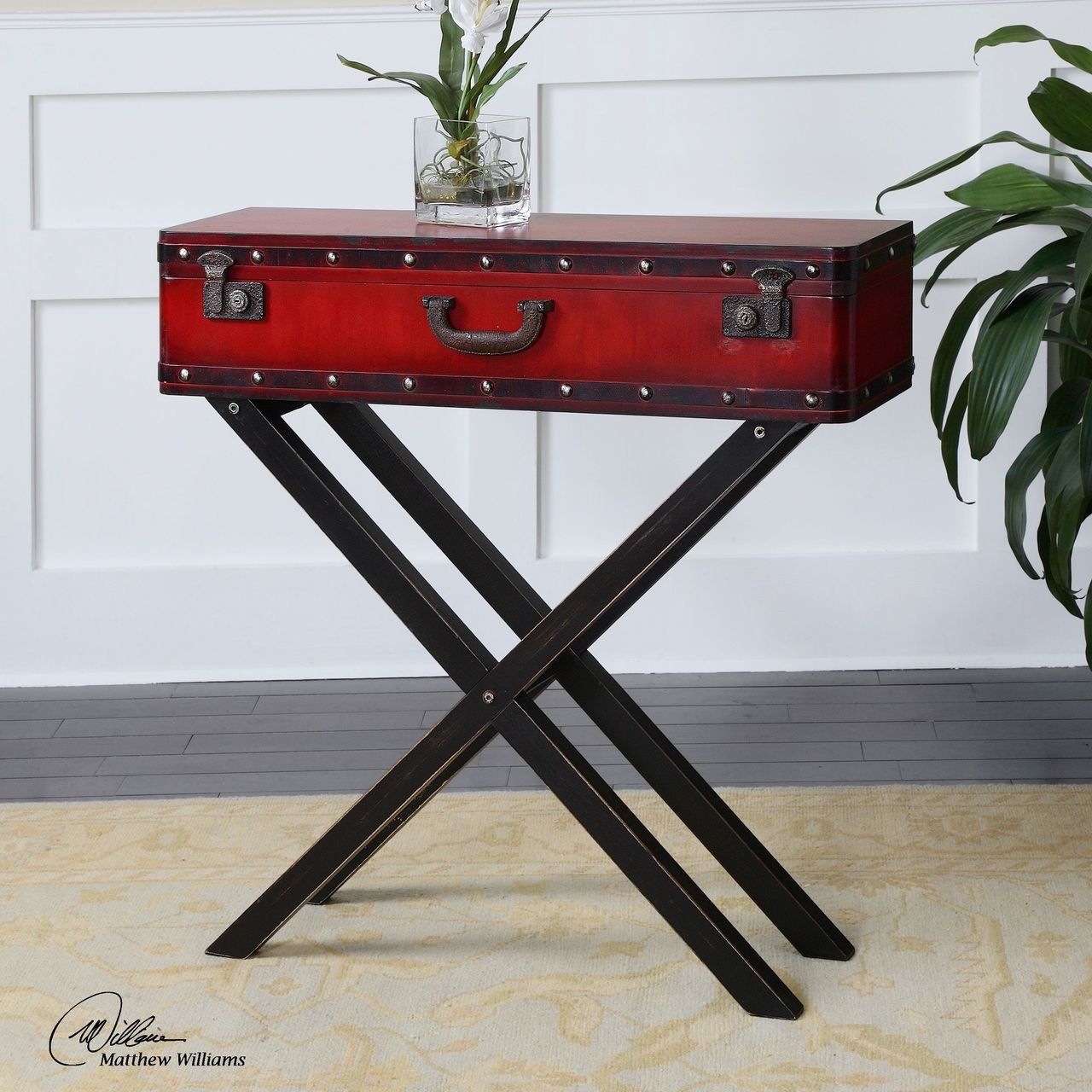 Red Trunk Storage Console Table | Antiqued Suitcase Sofa Entry 1