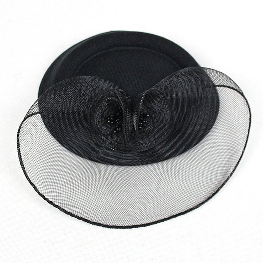 FAYBOX Vintage Mesh Net Wool Felt Pillbox Flower Women Fascinator Hat Hair Clip 2