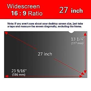 Magicmoon Privacy Filter Screen Protector, Anti-Spy&Glare Film Compatible 27 inch Widescreen Computer Monitor (27'',16:9 Aspect Ratio) (Tamaño: 27 Widescreen (16:9))