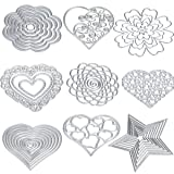 Cutting Dies Cut Metal Scrapbooking Love Heart Square Flower Star Sunflower Stencils Nesting Die for DIY Embossing Photo Album Decorative DIY Paper Cards Making Craft 9set (Set 5) (Color: Set 5, Tamaño: S/M)