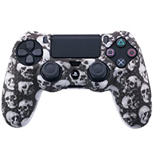 9CDeer 1 Piece of Silicone Studded Water Transfer Protective Sleeve Case Cover Skin + 8 Thumb Grips Analog Caps + 2 dust proof plugs for PS4/Slim/Pro Dualshock 4 Controller, Skull Black (Color: Skull Black, Tamaño: printing)