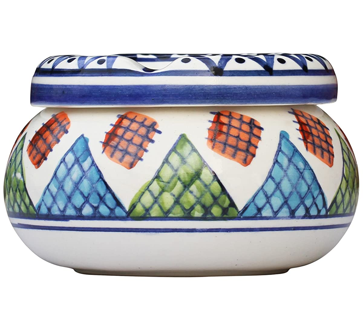 SouvNear Ashtray - Moroccan Round Ceramic Ashtray with Lid for Outdoors and Indoors with 3 Cigarette Holder Slots