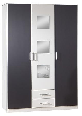 Wimex 380484 Kleiderschrank 3-turig 135 x 197 x 58 cm, Front und Korpus alpinweiß, Absetzungen anthrazit