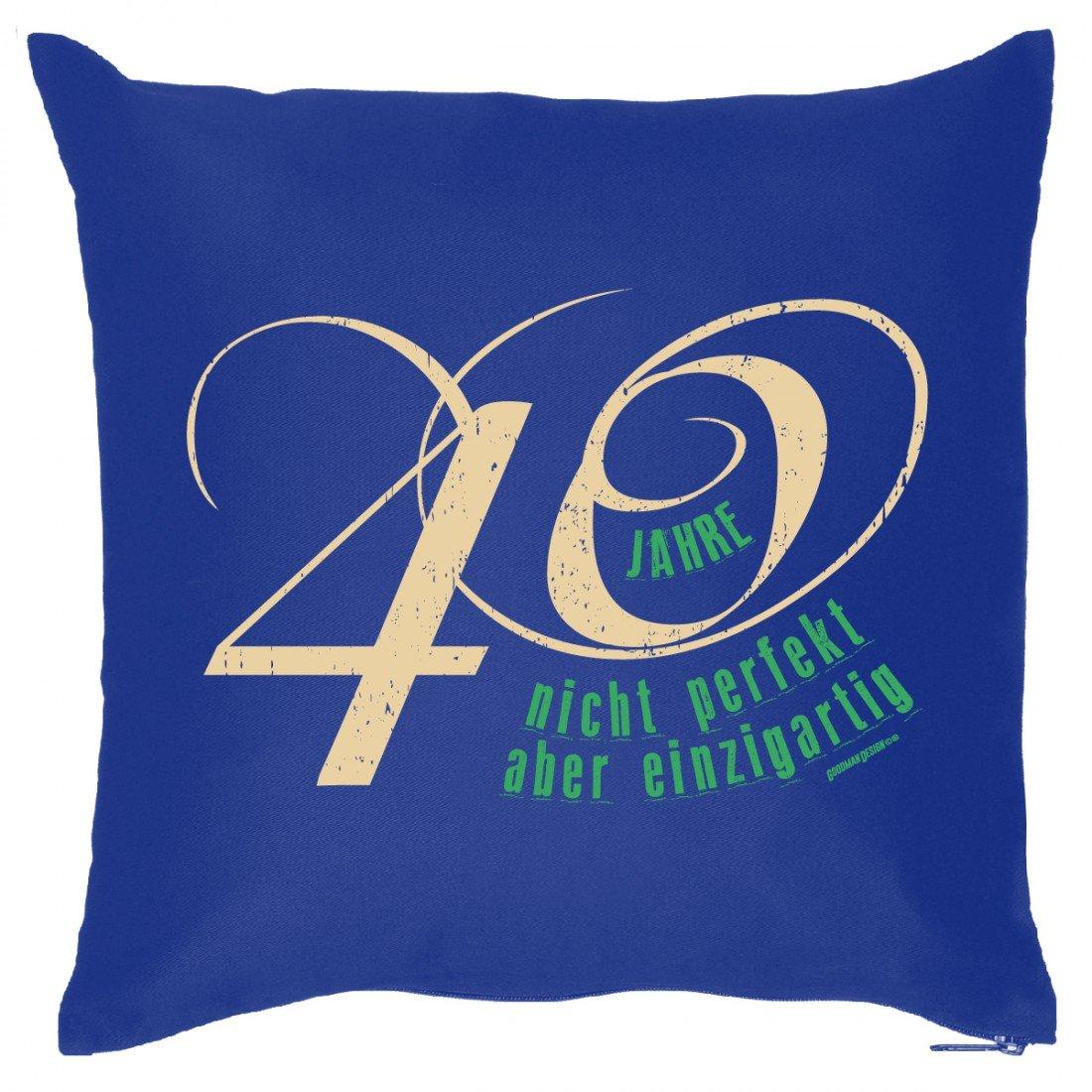 Kissen zum 40. Geburtstag – 40 Jahre – nicht perfekt aber einzigartig – Wendekissen, auch als Geschenk mit Humor jetzt kaufen