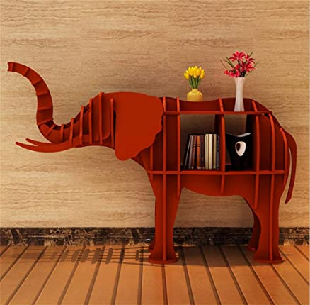 MNII creativo Ripiano Ripiano Elephant Animal Modelling Libreria Table Hotel Store Art Déco Finestra Piano decorazioni Dimensione selezionabile , red , 124*36*84cm m- Decorazione domestica