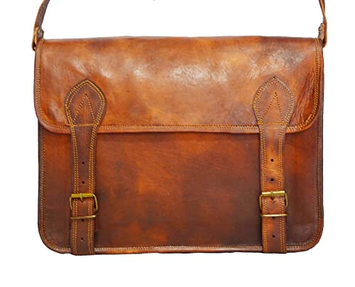 Men's Leather Messenger Satchel Shoulder Briefcase Business Bag - Handmade Bag