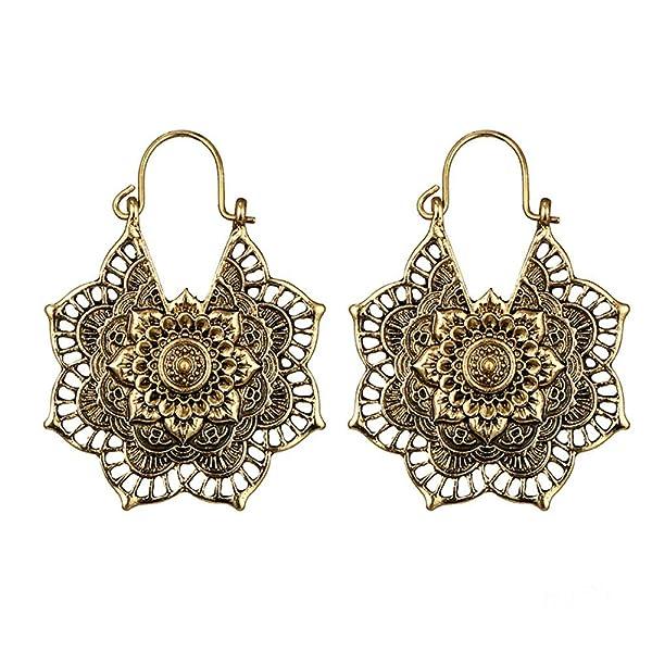 341c0064d YJYdada Earring, Antique Silver Gypsy Indian Tribal Ethnic Hoop Dangle  Mandala Earrings Boho (Gold) (Color: Gold, ...
