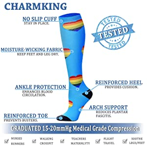 CHARMKING Compression Socks 15-20 mmHg is BEST Graduated Athletic & Medical for Men & Women Running, Travel, Nurses, Pregnant - Boost Performance, Blood Circulation & Recovery(Small/Medium,Assorted 1) (Color: 01 Point Navy/Heart Gray/Heart Black/Heart Blue/Heart Navy/Heart White/Bow Black/Point Blue, Tamaño: Small/Medium (US Women 5.5-8.5/US Men 5-9))