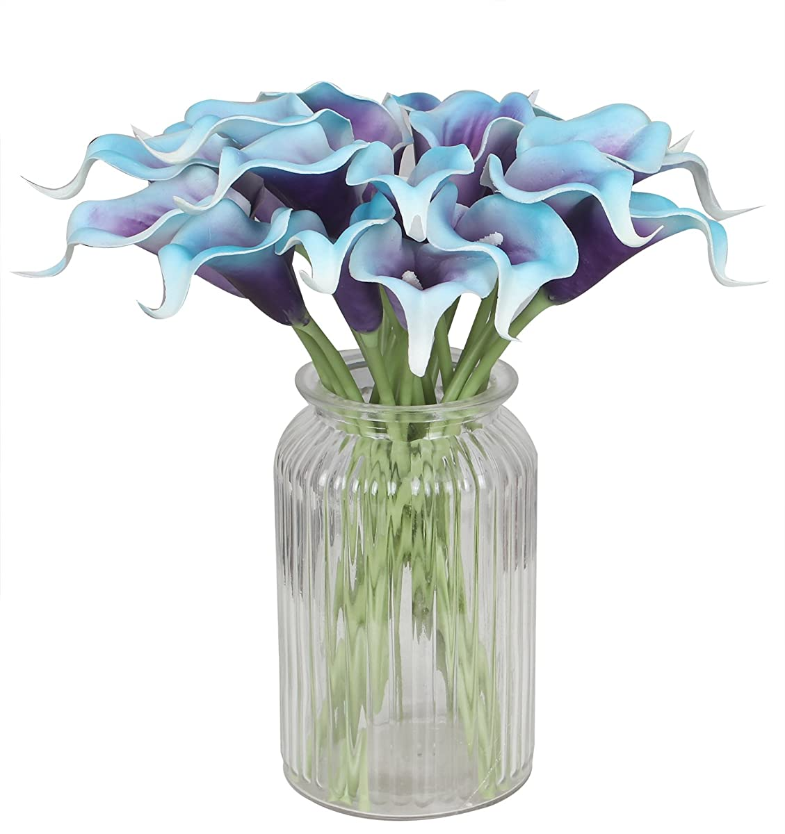 Duovlo 20pcs Calla Lily Bridal Wedding Bouquet Lataex Real Touch Artificial Flower Home Party Decor (Purple in Blue)