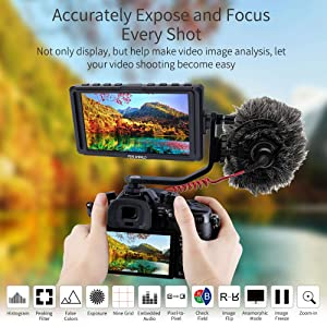 FEELWORLD F5 5 Inch DSLR On Camera Field Monitor Small Full HD 1920x1080 IPS Video Peaking Focus Assist with 4K HDMI 8.4V DC Input Output Include Tilt Arm (Tamaño: 5'')