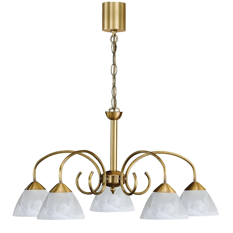 Honsel Leuchten Krone altmessing Glas alabasterfarbig, weiß 11255