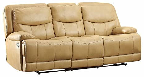 Homelegance 8599TPE-3 Double Reclining Sofa, Taupe Breathable Faux Leather