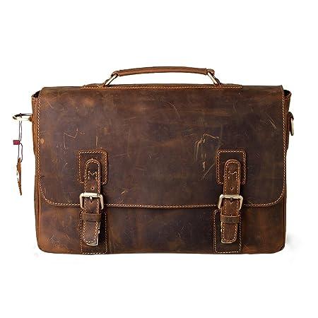 [Amazon.ca]Kattee Leather Shoulder Briefcase 14 Inch Laptop Bag $111.99