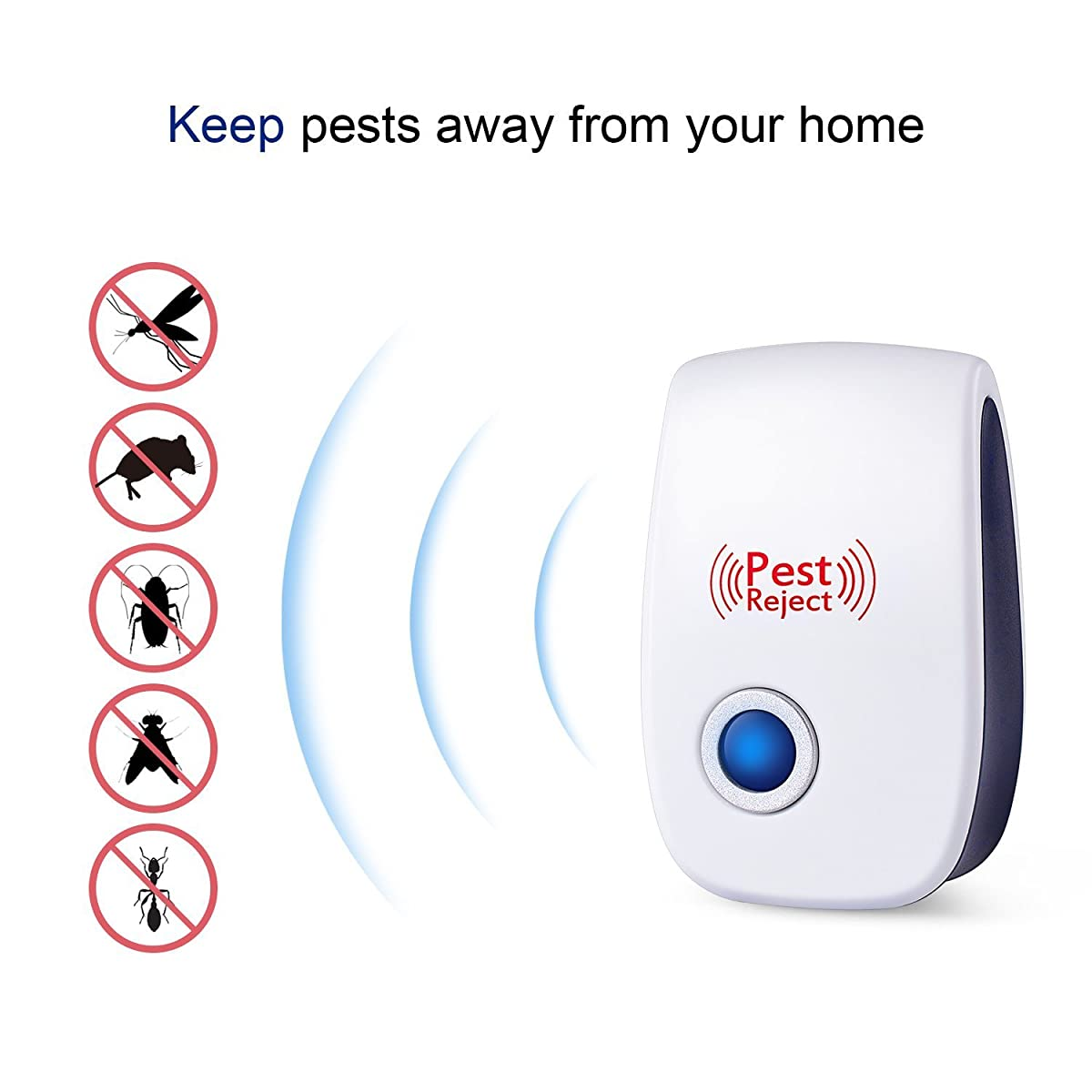 [2018 UPGRADED] Pest Control Ultrasonic Repeller - Electronic Spider Repellent Plug In for Insects & Mice, Mouse, Roaches, Bugs, Flies, Fleas, Ants and Mosquitoes, Environment-friendly