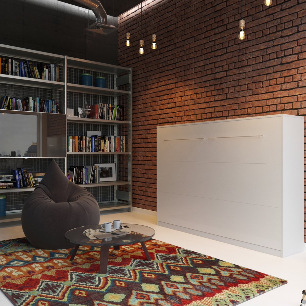 Schrankbett 140×200 weiss, ideal als Gästebett – Wandbett, Schrank mit integriertem Klappbett, SMARTBett günstig