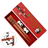 Cute Panda Chopsticks with Panda Bag, MHKBD Reusable Chopsticks with Engraved Panda Design Wooden Chopsticks with 2 Ceramic Panda Rests and Case Gift Set for New Year Birthday Business Anniversary (Color: Panda Carving, Tamaño: 9'')