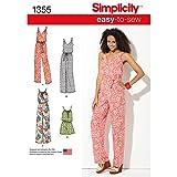 Simplicity 1355 Easy to Sew Women's Jumpsuit and Maxi Dress Sewing Patterns, Sizes XXS-XXL (Tamaño: A (XXS-XS-S-M-L-XL-XXL))