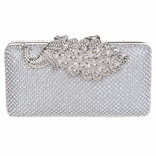 Fawziya® Peacock Clutches For Womens Clutch Peacock Evening Bag-Silver