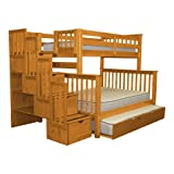 Bedz King Stairway Bunk Beds Twin over Full with 4 Drawers in the Steps and a Twin Trundle, Honey (Color: Honey, Tamaño: Twin Over Full)