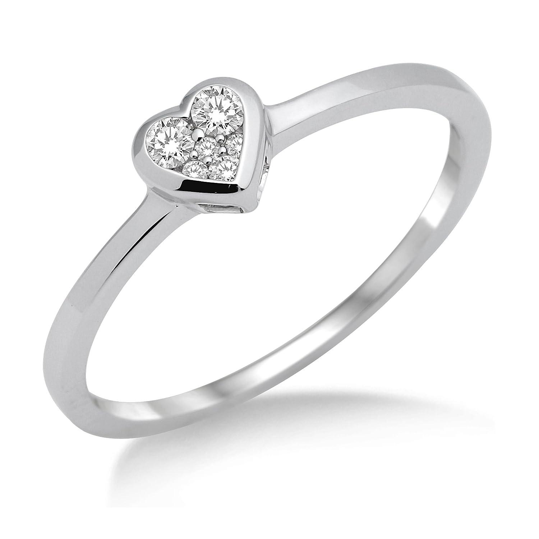 Miore Damen-Ring 925 Sterling Silber Herz mit Brillanten 0.11ct MSL004R günstig online kaufen